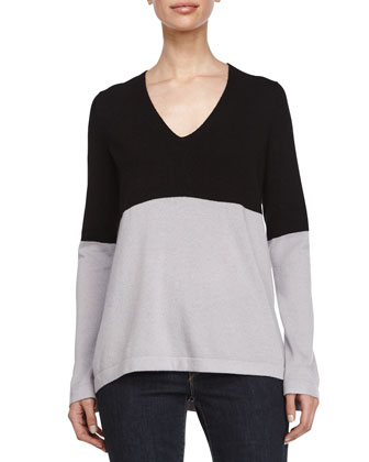 V-Neckline Colorblock Sweater, Black/Flint