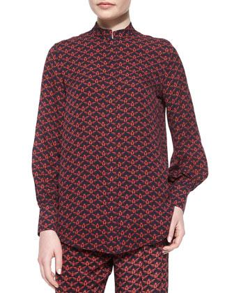 Temple Scarab-Printed Silk Shirt