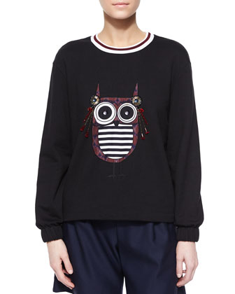 Baley Embellished Owl Knit Top