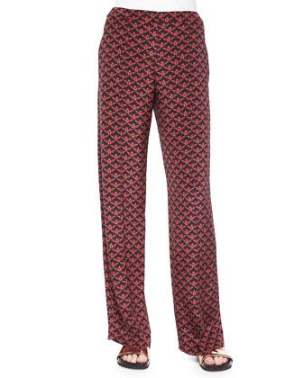 Penley Scarab-Printed Silk Pants