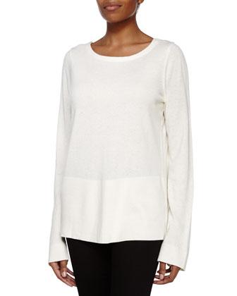 Long-Sleeve Back V Sweater, Cream