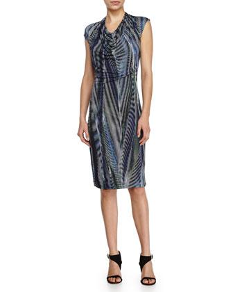 Short-Sleeve Patterned Dress, Midnight Cascading