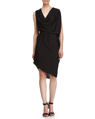 Sleeveless Belted Dress, Black