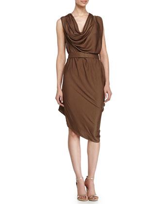 Sleeveless Belted Dress, Fatigue