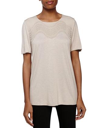 Short-Sleeve Embellished Top, Seastone