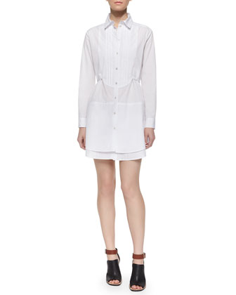 Kia Long-Sleeve Tuxedo Bib Shirtdress