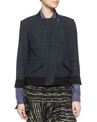 Maxine 3/4-Sleeve Tweed Jacket
