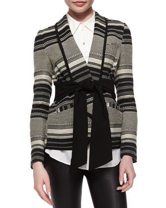 Brighton Tie-Waist Striped Jacket & Evengeline Silk Tuxedo Top