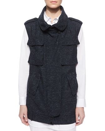 Kenyon Long Tweed Vest & Kia Long-Sleeve Tuxedo Bib Shirtdress