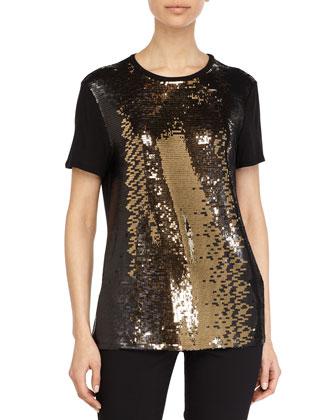 Sequin Embellished Top, Dark Gold/Black