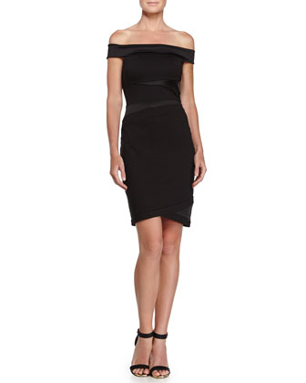 Faux-Wrap Cocktail Dress, Black