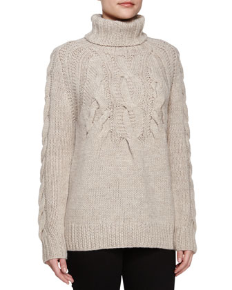 Cable Ribbed Turtleneck Sweater, Natural