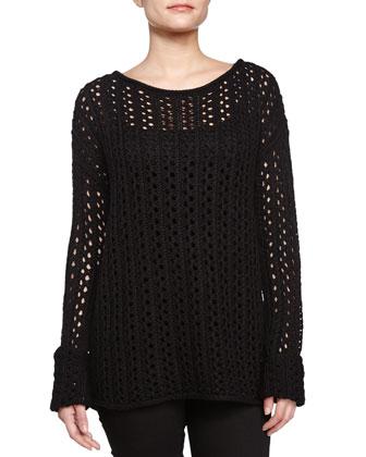 Crochet Scoop Neck Sweater, Black