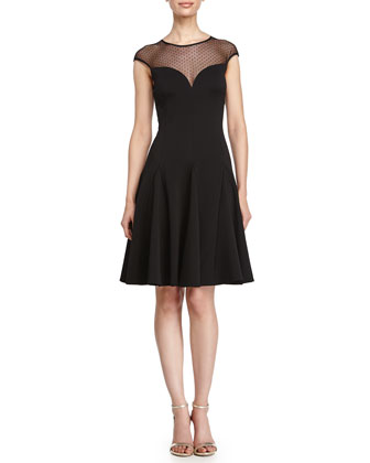 Fit-and-Flare Cocktail Dress, Black