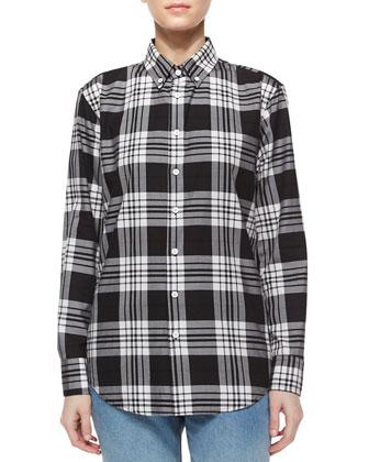 Plaid Long-Sleeve Shirt, Black/White