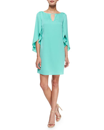 Butterfly-Sleeve Keyhole-Neck Dress