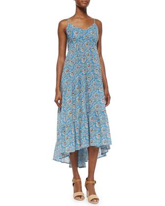 Spaghetti-Strap Floral-Print Ruffle-Hem Maxi Dress