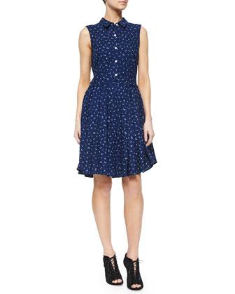 Wool Jersey 2-Button Schoolboy Jacket & Sleeveless Bouquet-Print Dress