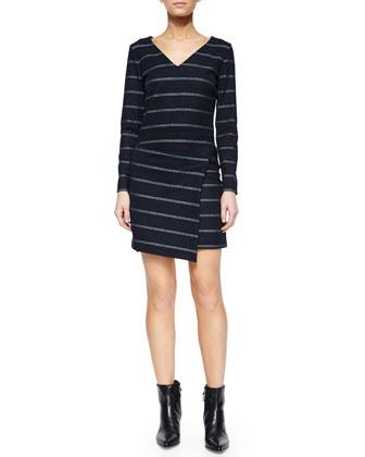 Long-Sleeve V-Neck Striped Dress W/ Wrap Skirt