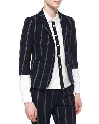 2-Button Schoolboy Blazer, Long-Sleeve Shirt W/ Grosgrain Detail & Striped ...