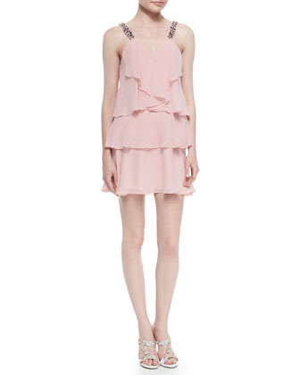 Carlotta Jewel-Strap Ruffle Dress, Light Shell
