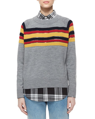 Sweater with Contrast Stripes, Plaid Long-Sleeve Shirt & Relaxed Ombre-Fade ...