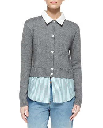 Cropped Cardigan W/ Layered Shirt Detail & Relaxed Ombre-Fade Cuffed Jeans