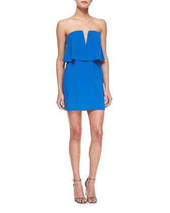 Kate Strapless V-Neck Cocktail Dress, Blue