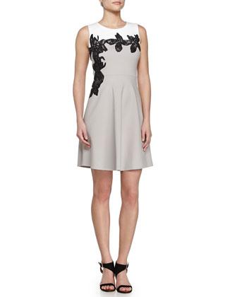 Scoop Neck Floral Applique Dress, Flint/Linen White