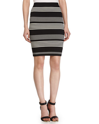 Stripe Pencil Skirt, Black/Chalk