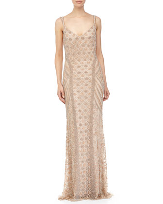 Sleeveless Crystal-Beaded Gown, Tea Rose