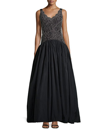 Lace-Bodice Ball Gown, Black