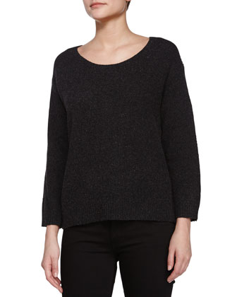 Round Neck Ribbed Sweater, Charcoal
