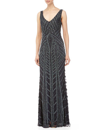 Sleeveless Deco Beaded Gown, Midnight
