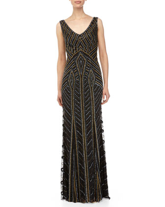 Sleeveless Deco Beaded Gown, Pewter/Gold