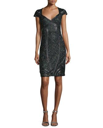 Cap-Sleeve Deco-Beaded Dress, Hunter