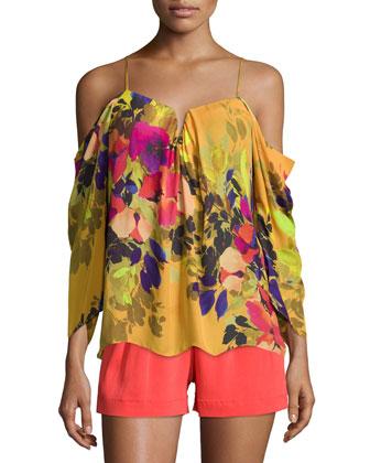 Schuler Floral-Print Cold-Shoulder Top