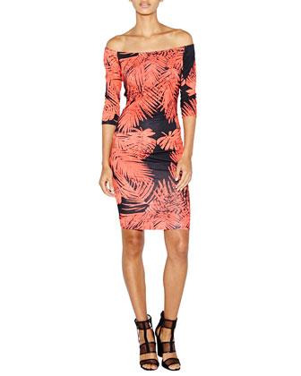 Lourdes Off-the-Shoulder Tropical Body-Conscious Dress