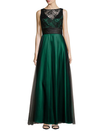 Two-Tone Ballgown, Bottle Green/Black