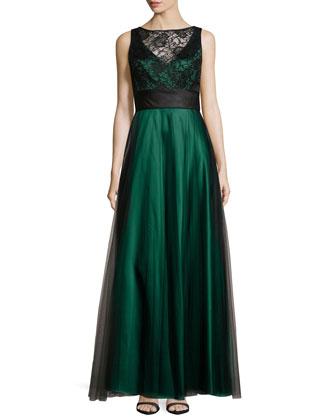 Two-Tone Ballgown, Bottle Green/Black