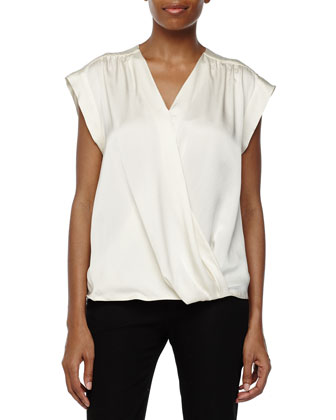 Short-Sleeve Wrap-Front Top, Chalk