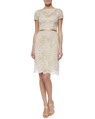Short-Sleeve Lace Sheath Dress