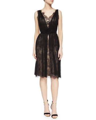 Sleeveless V-Neck Lace Tulle Overlay Dress