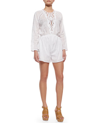 Marisol Motif Embroidered Romper, White