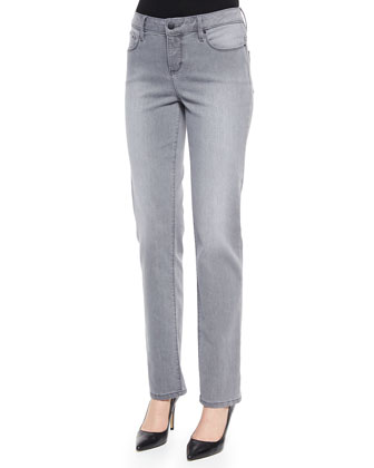 Madison Straight-Leg Pants, Gray