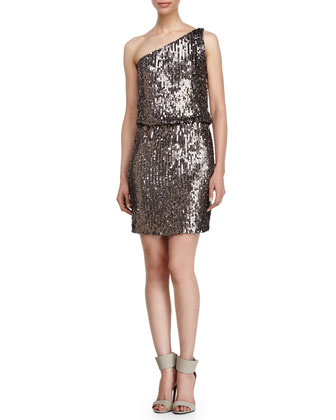 One-Shoulder Sequin Dress, Dove