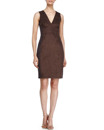 Sleeveless Two-Tone Dress, Earth/Charcoal