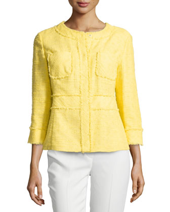 Fringe-Trim Boucle Jacket, Sunshine