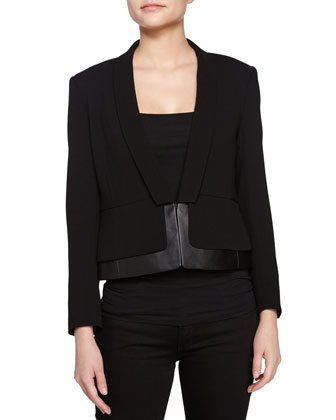 Long-Sleeve Leather-Trim Jacket, Black