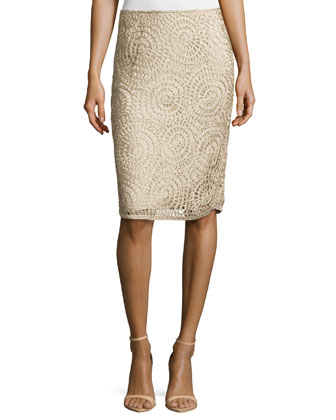 Circle-Pattern Slim Skirt, Khaki